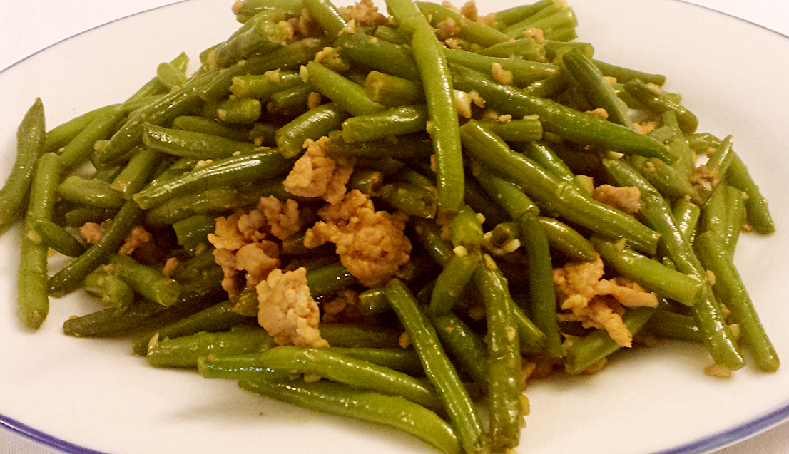 Stir-fried green beans with pork